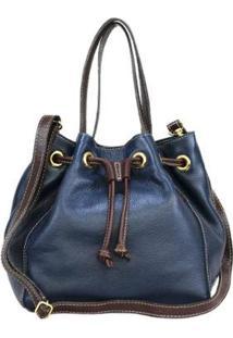Bolsa Sn Couros Nice Feminina - Feminino-Azul
