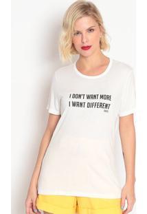 """Camiseta """"I Don'T Want More""""- Branca & Preta- Colccicolcci"""