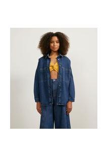 Jaqueta Em Jeans Com Bolsos Frontais E Costuras Contrastantes