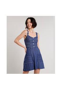 Vestido Feminino Curto Listrado Com Botões E Bolsos Alça Larga Azul Marinho