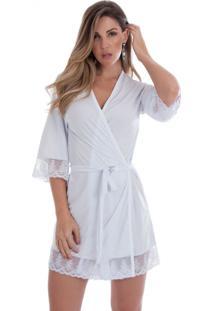 Robe Feminino Em Microfibra Branco Diário Íntimo - Tricae