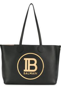 Balmain Bolsa Tote Com Placa De Logo - Preto