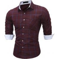 56e901e1bbd63 Camisa Masculina Slim Xadrez Manga Longa - Vinho