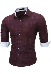 Camisa Masculina Slim Xadrez Manga Longa - Vinho