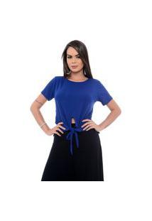 Blusa B'Bonnie Com Amarração Frontal Luana Azul Royal