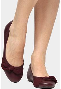 Sapatilha Couro Shoestock Laço Feminina - Feminino-Vinho