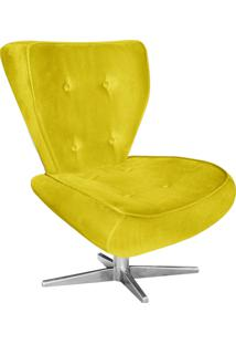 Poltrona Decorativa Tathy Suede Amarelo Com Base Estrela Aço Cromado - D'Rossi