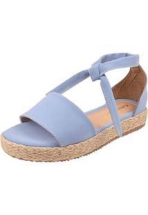 Sandália Plataforma Macerata Sola Corda Feminina - Feminino-Azul Claro