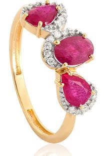 Anel De Ouro 18K Com 3 Pedras De Rubi E Diamantes-Coleção Luxis