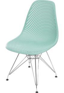 Cadeira Eames Furadinha Cor Tiffany Com Base Cromada - 55991 - Sun House
