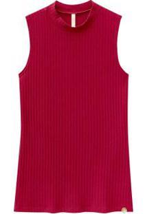 Blusa Regata Canelada Com Gola Redonda Vermelho