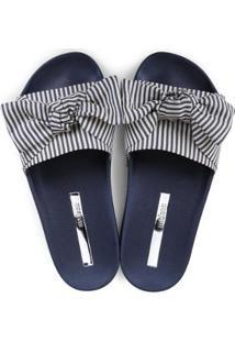 cbddf837694c7 ... Chinelo Moleca Slide Laço Listrado Feminino - Feminino-Azul Escuro