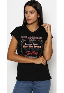 "Camiseta ""Los Angeles Jam""- Preta & Vermelhaclub Polo Collection"