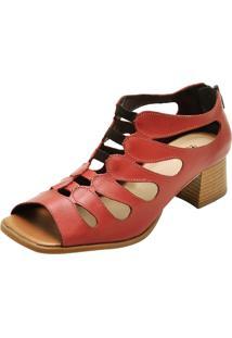 Sandália Retrô Salto Grosso Touro Boots Feminina Vermelha - Kanui