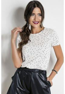 Blusa Com Estampa De Poá Branca Preta