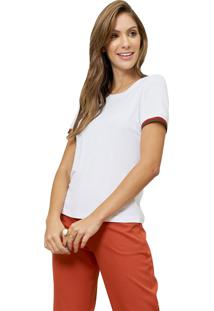 Blusa Mx Fashion Com Punho Listrado Luma Off White - Kanui