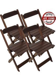 Cadeira Madeira Maciça Dobrável Imbuia Bar Restaurante - Kit 4 Unidades