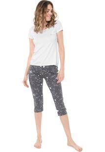 Pijama Malwee Liberta Estampado Branco/Cinza