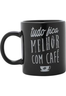 Caneca Café Preta E Branca 7,3X6,7X6,7 Cm