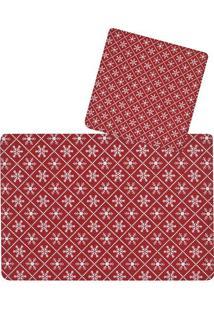 Jogo Americano Abstrato- Vermelho & Branco- 2Pã§Smabruk