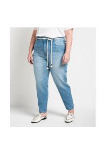 Calça Mom Jeans Com Cinto Corda Curve & Plus Size   Ashua Curve E Plus Size   Azul   52