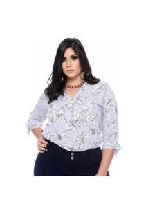 Camisa Feminina Mac-Lu Estampada De Manga Longa Linha Premium Azul Live