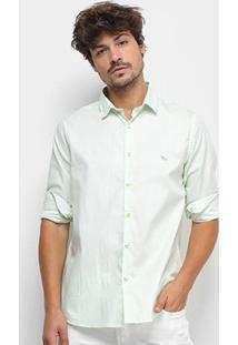 Camisa Social Acostamento Manga Longa Masculina - Masculino-Verde Claro