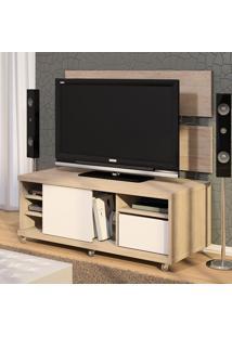 Rack Para Tv Até 42 Polegadas Vison Com Painel Decorativo Vante 100% Mdf Santana/Branco - Urbe Móveis
