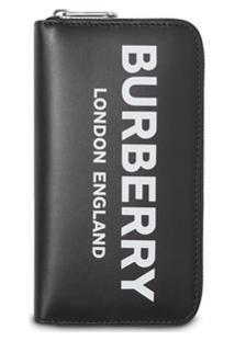 Burberry Carteira De Couro Com Logo E Zíper - Preto