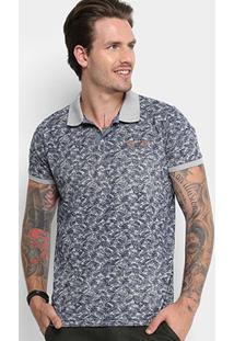 Camisa Polo Gangster Estampada Masculina - Masculino-Cinza