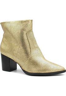 Bota Cano Curto Zariff Shoes Ankle Boot Salto Feminino - Feminino-Dourado
