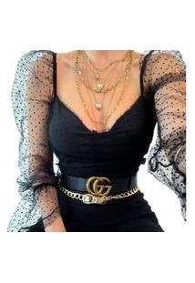 Blusa Feminina Cropped Luxo Com Renda E Bojo