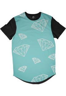 Camiseta Bsc Longline Diamantes Dm Sublimada Preta Azul