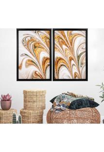 Quadro Com Moldura Chanfrada Mã¡Rmore Abstrato Dourado Preto - Mã©Dio - Multicolorido - Dafiti