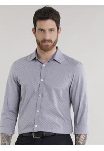 Camisa Slim Estampada Em Algodão + Sustentável Cinza