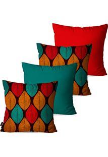 Kit Com 4 Capas Para Almofadas Decorativas Vermelho Folhas 45X45Cm - Vermelho - Dafiti