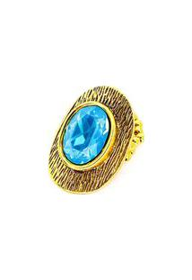 Anel Armazem Rr Bijoux Cristal Swarovski Azul Dourado