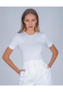 Blusa L'Essere Modal Skinny Decote Redondo Feminina - Feminino-Branco