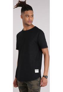 Camiseta Masculina Texturizada Manga Curta Gola Careca Preta