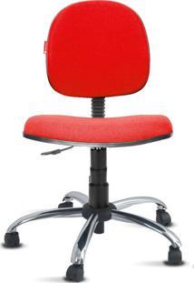 Cadeira Executiva Giratória Cromada Crepe Vermelho