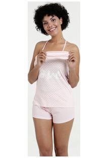 Pijama Feminina Nadador Estampado Brinde Máscara Marisa