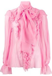 Dolce & Gabbana Blusa Com Laço Na Gola E Babados - Rosa