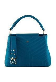 Bolsa Feminina Mayon 5225 Alça De Trança Couro Azul Real