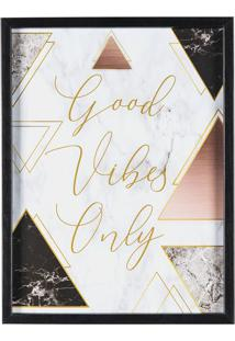 "Quadro Decorativo ""Good Vibes Only""- Branco & Preto-Art Frame"