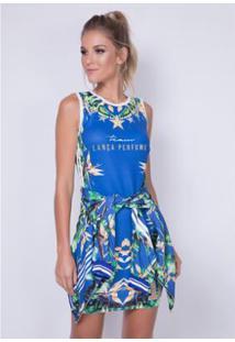 98bfbeaf0e ... Vestido Justo Estampado Lança Perfume - Feminino-Azul