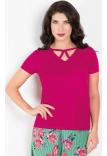 Blusa Púrpura Com Tira No Decote Moda Evangélica