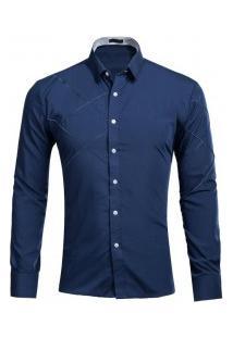 Camisa Masculina Slim Fit Com Detalhes Em Costura Manga Longa - Azul Marinho