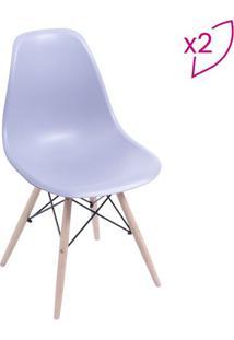 Jogo De Cadeiras Eames Dkr- Cinza & Bege- 2Pã§S- Or Design