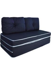 Puff 3 Em 1 Poltrona Sofá Cama Conforto Fa Maringá Casal - Unissex-Azul Escuro