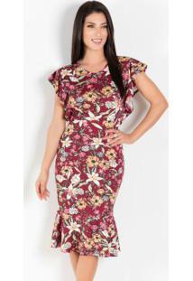 8d81255e3 ... Vestido Floral Bordô Com Babado Lateral E Barra